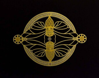 Gold Moth Mandala: Original work on paper