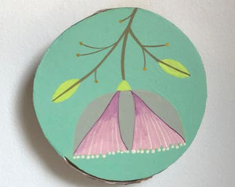 Flower Study #5/Small birch panel painting/pink hanging flower on mint green