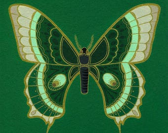Butterfly #1-ORIGINAL painting/green butterfly