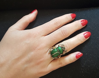 Green beetle ring  women's big ring with scarab cicada jewelry enamel rhinestone ring insect bug elytra gift idea for her