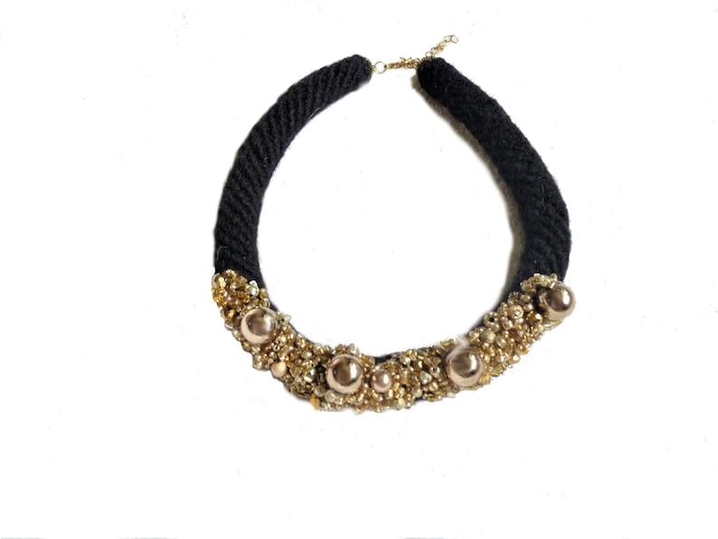 large choker chunky neck piece Gold Statement Necklace impressive bib necklace Elegant Rope Necklace for women stylish collar necklace