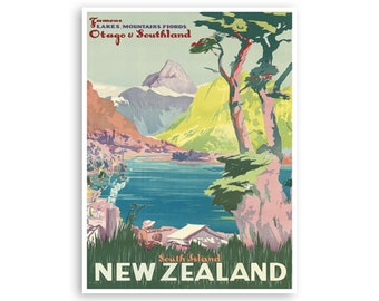 Vintage New Zealand Lake Advert Retro Decor Art Poster Print Artwork Framed