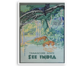 Vintage See India Travancore State Tigers  Poster   A3 Print