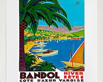 Art Bandol France Poster Travel Print Vintage French Home Decor (ZT107)