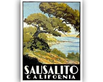 California Travel Poster Sausalito Art Print Vintage Home Decor (XR1074)