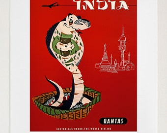 India Art Wall Print Cobra Travel Poster (TR47)