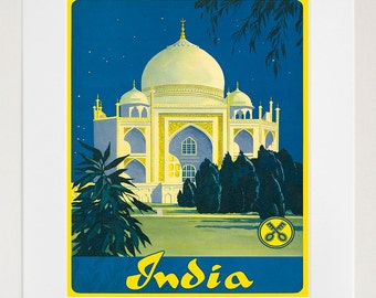 India Art Print Taj Mahal Travel Poster (TR95)