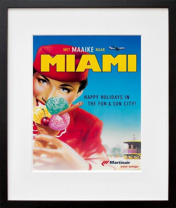 Travel Art Florida Print Poster Miami Vintage Home Decor