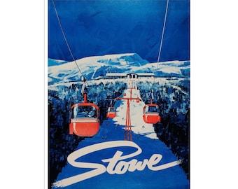 Vermont Art Print Stowe Vintage Home Decor Travel Ski Poster (XR1745)