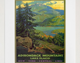 Adirondack Mountains Art Travel Poster Retro Decor Print (XR162)