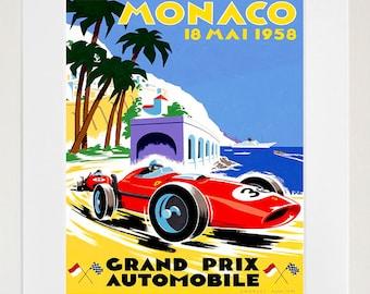 Monaco Racing Travel Poster Monte Carlo Art Print Vintage Home Decor (ZT208)