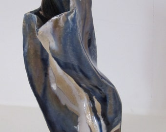 Swirl blue ceramic vase, hand built, blue and white glaze