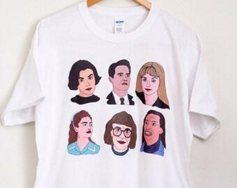 Twin Peaks /  Illustrated Tee Shirt  David Lynch Mystery Horror Drama / Cult Movie / spring break mothers day / Festival T-shirt