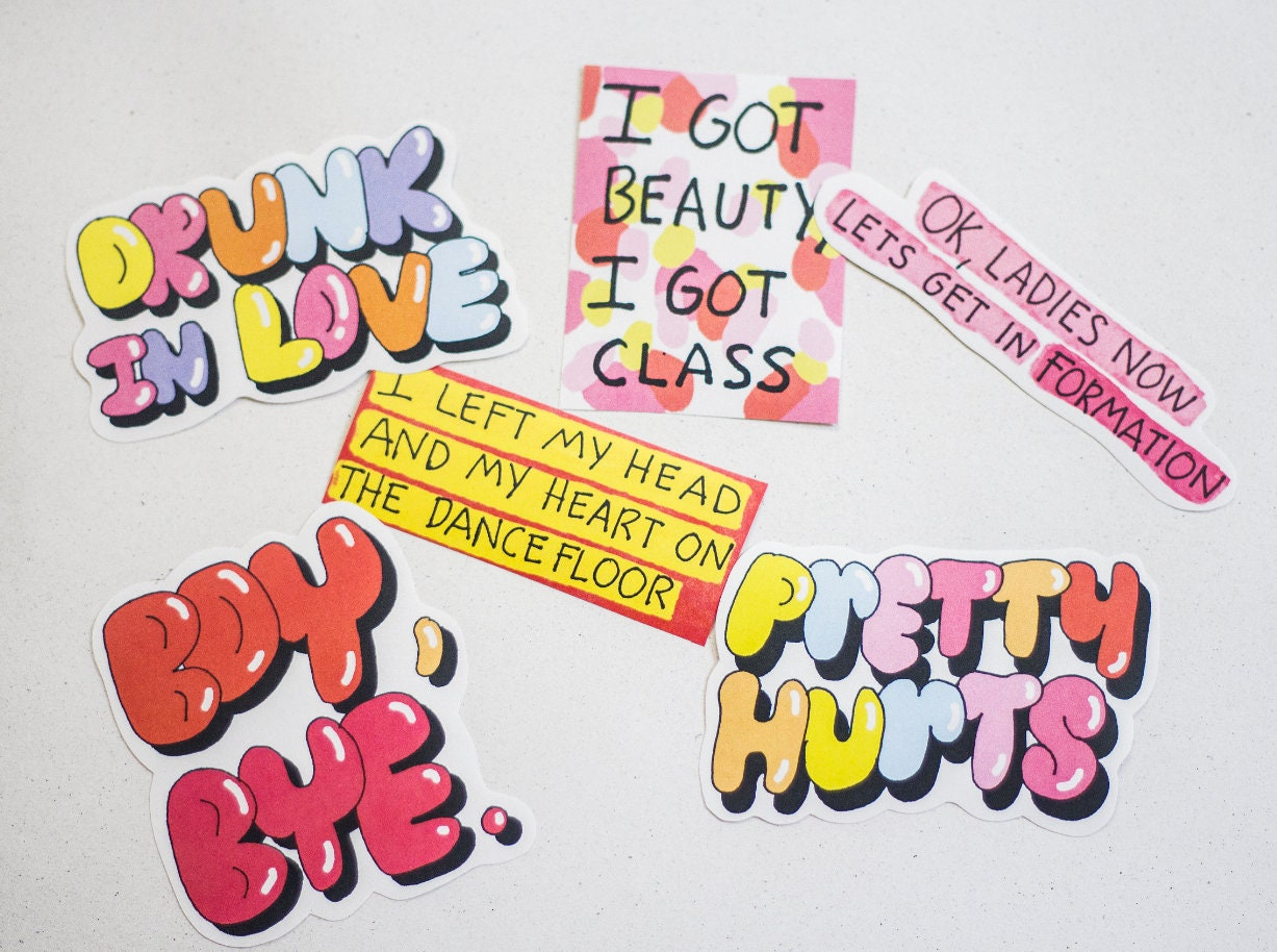 Beyonce Sticker Pack Lyrics Quotes Queen B Stickers Etsy