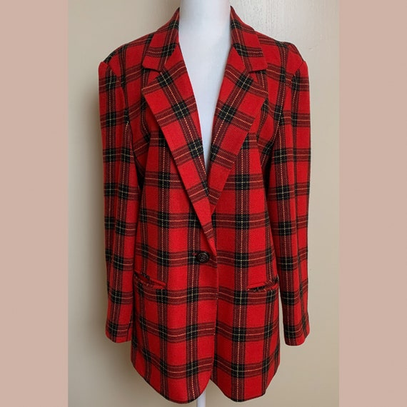 Plaid Oversized Wool Blend Blazer