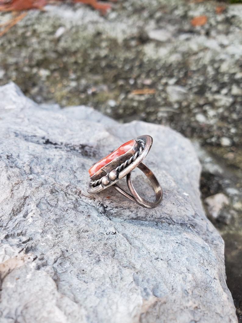 Navajo Coral Ring Sterling Silver Vintage Size 5