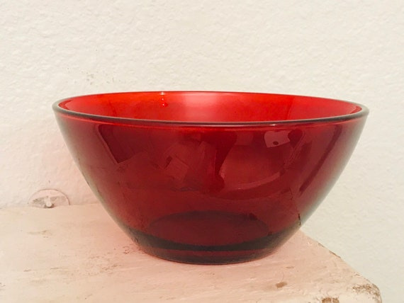 Beautiful Collectible Ruby Red Glass Serving Bowl Made in France