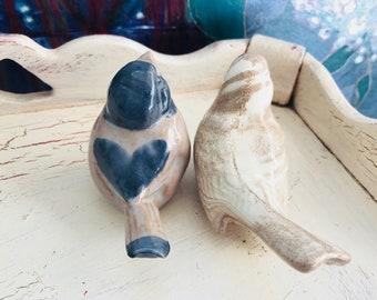 Vintage Bird Figurines, Dissing Keramik Hovedgaard Pottery, Mt St Helens Bird, Ashware, Cougar Washington