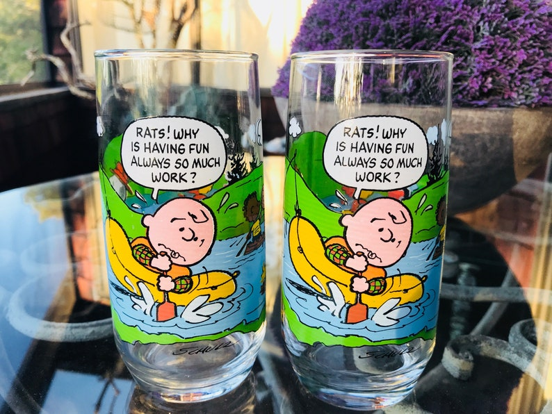 7c27e1ff7c 1968 Camp Snoopy Glass McDonalds Glasses Charlie Brown Lucy