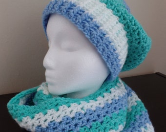 Color block crochet hat and infinity scarf set
