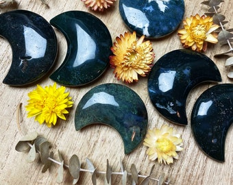 Moss Agate Crescent Moon Crystal