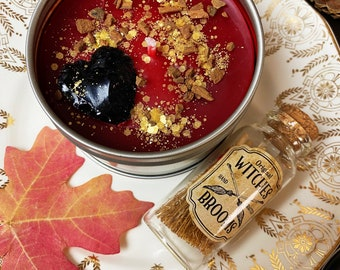 Hot Apple Pie Beeswax Candle, Fall Crystal Candle, Autumn Candle