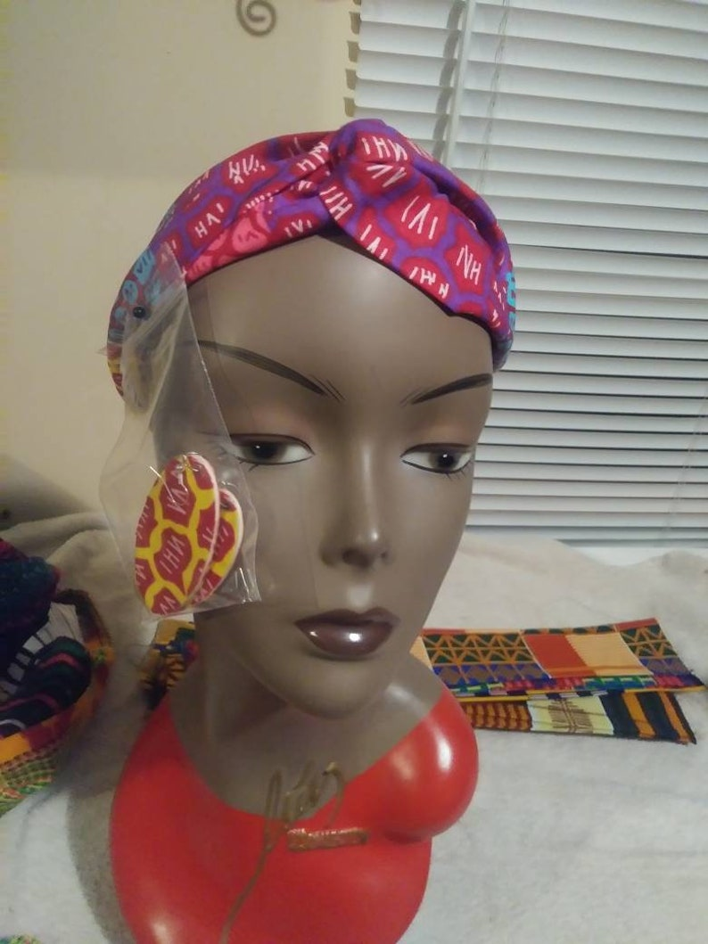 Natural hair headband with matching earrings