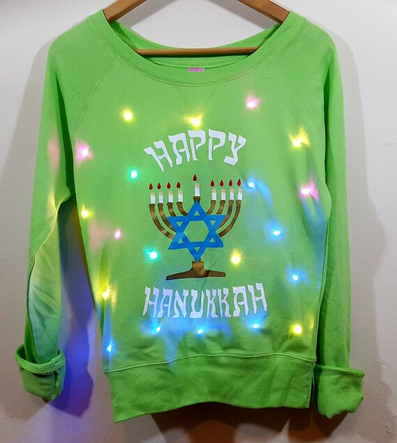 Final Sale Light Up Womens Ugly Hanukkah Sweater With Etsy