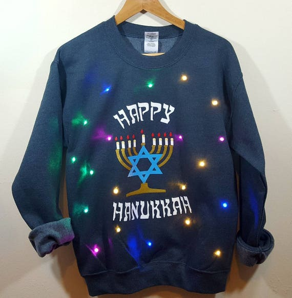 Light Up Ugly Hanukkah Sweater With Multicolor Led Etsy