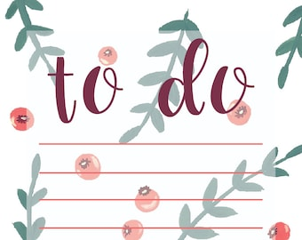 Berry Pattern To Do List Notepad