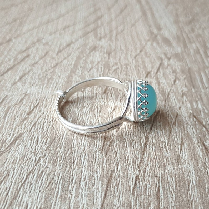 925 Sterling Silver Blue Chalcedony Ring Free Ring Size