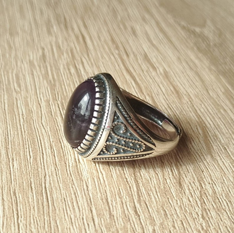 Free Size Ring 925 Sterling Silver Amethyst Ring CUSTOM ORDER Male Amethyst Ring
