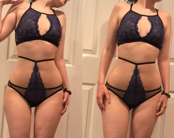 Open front high neck blue lace bralette with cut out XS-XL sheer bralette lace lingerie blue and black sheer lingerie