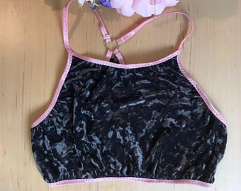 Ash charcoal grey velvet bralette peony pink with metal heart racerback detail XS-XL