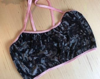 Charcoal Grey Velvet Sweetheart Bralette With Peony Pink Elastic XS-XL