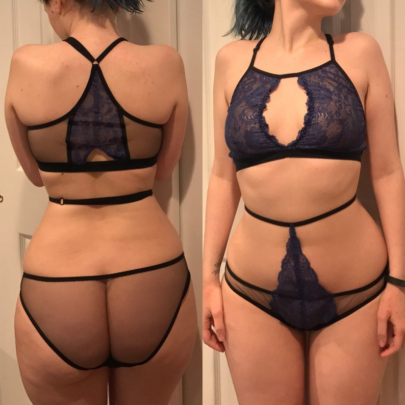 Black sheer mesh panties with blue lace strappy harness high waist  adjustable strap XS-XL f0882e20a
