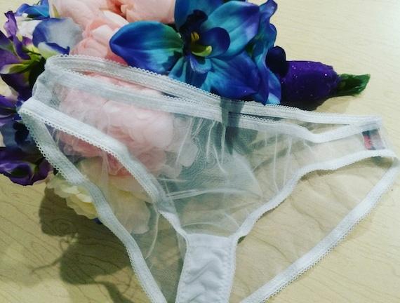 Elegant White Sheer Mesh Lace Panties XS-L Minimalist Bridal Lingerie