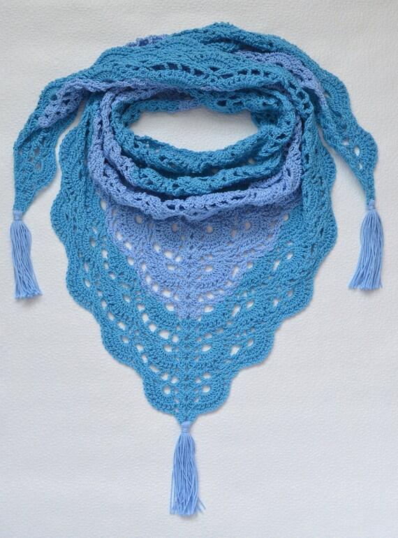 Crochet Blue Baktus Scarf Knit Baktus Knitted Baktus Etsy