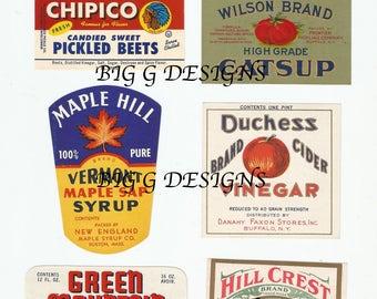 Vintage food product maple syrup vinegar catsup pickles eggs digital download printable instant image clip art
