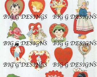 Vintage Carrington Valentine greetings hearts boy girl sticker decorations collages digital download printable instant image clip art