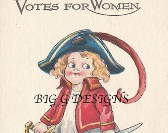 Antique Wall postcard Votes for Women Suffrage Suffragettes girl sword digital download printable instant image clip art