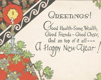 vintage art deco new year greetings card digital download printable image instant