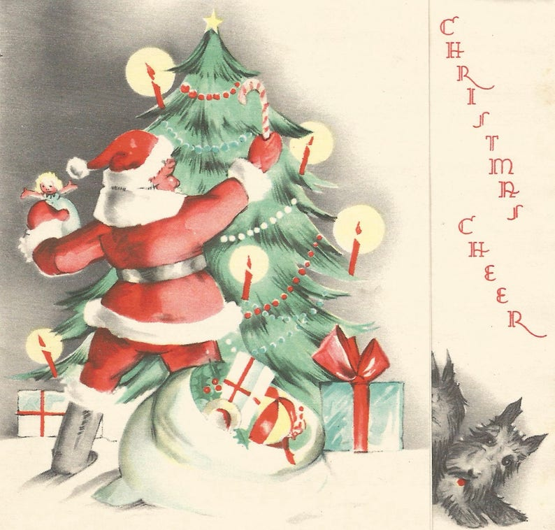 Cartoline Di Natale Vintage.Albero Babbo Natale Cartolina Di Natale Vintage Giocattoli Scotties Scottish Terrier Download Digitale Stampabile Istantanea Immagine