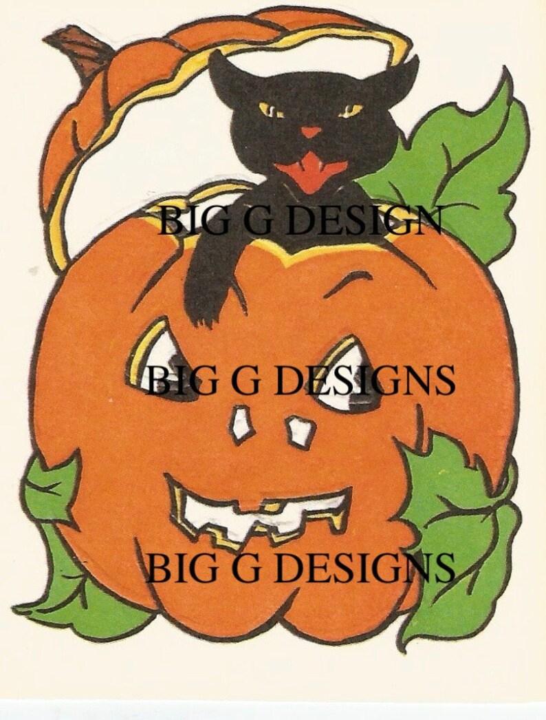 Vintage Halloween black cat jack o/' lantern bridge tally digital download printable instant image