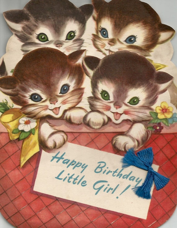 Vintage Little Girl Birthday Card Cute Kittens Cats Digital