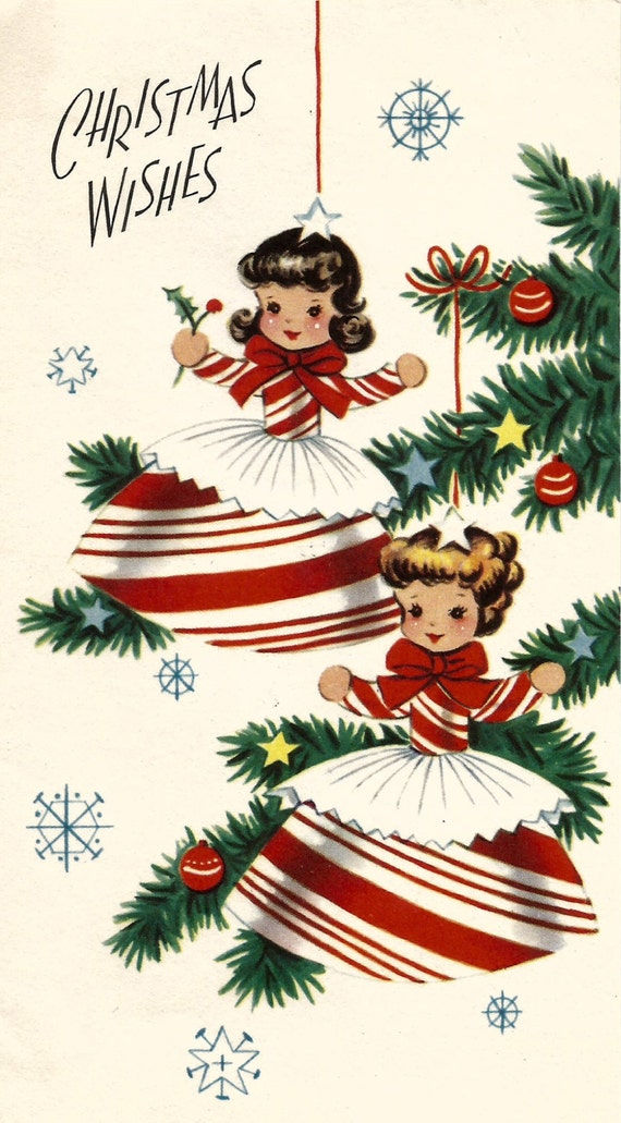 Download Christmas Cards.Vintage Retro Christmas Card Peppermint Candy Cane Girls Digital Download Printable Instant Image