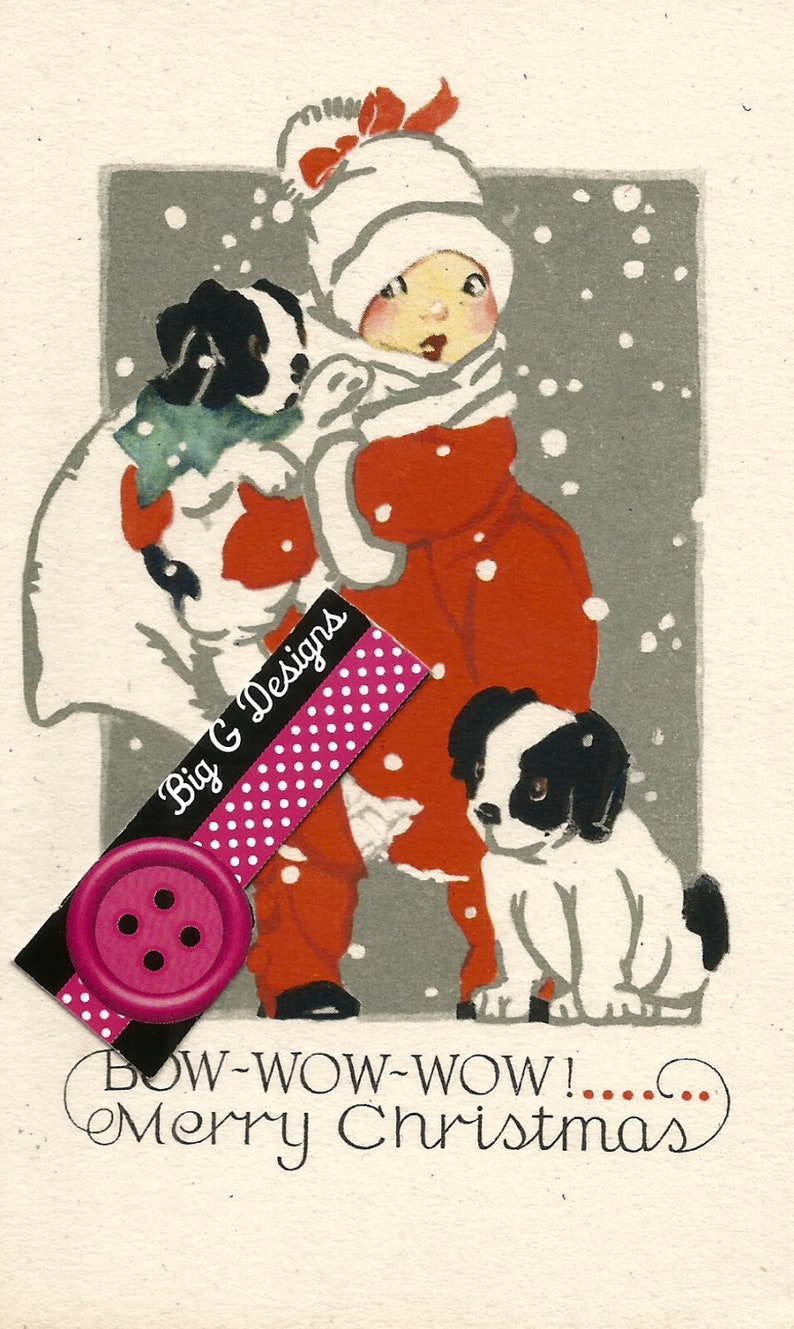 Vintage Art Deco Christmas Card Girl And Dogs Puppies Digital Etsy