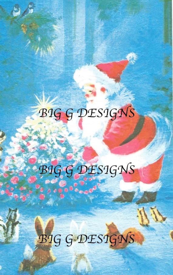 Vintage retro Santa Claus Christmas card tree animals rabbit | Etsy