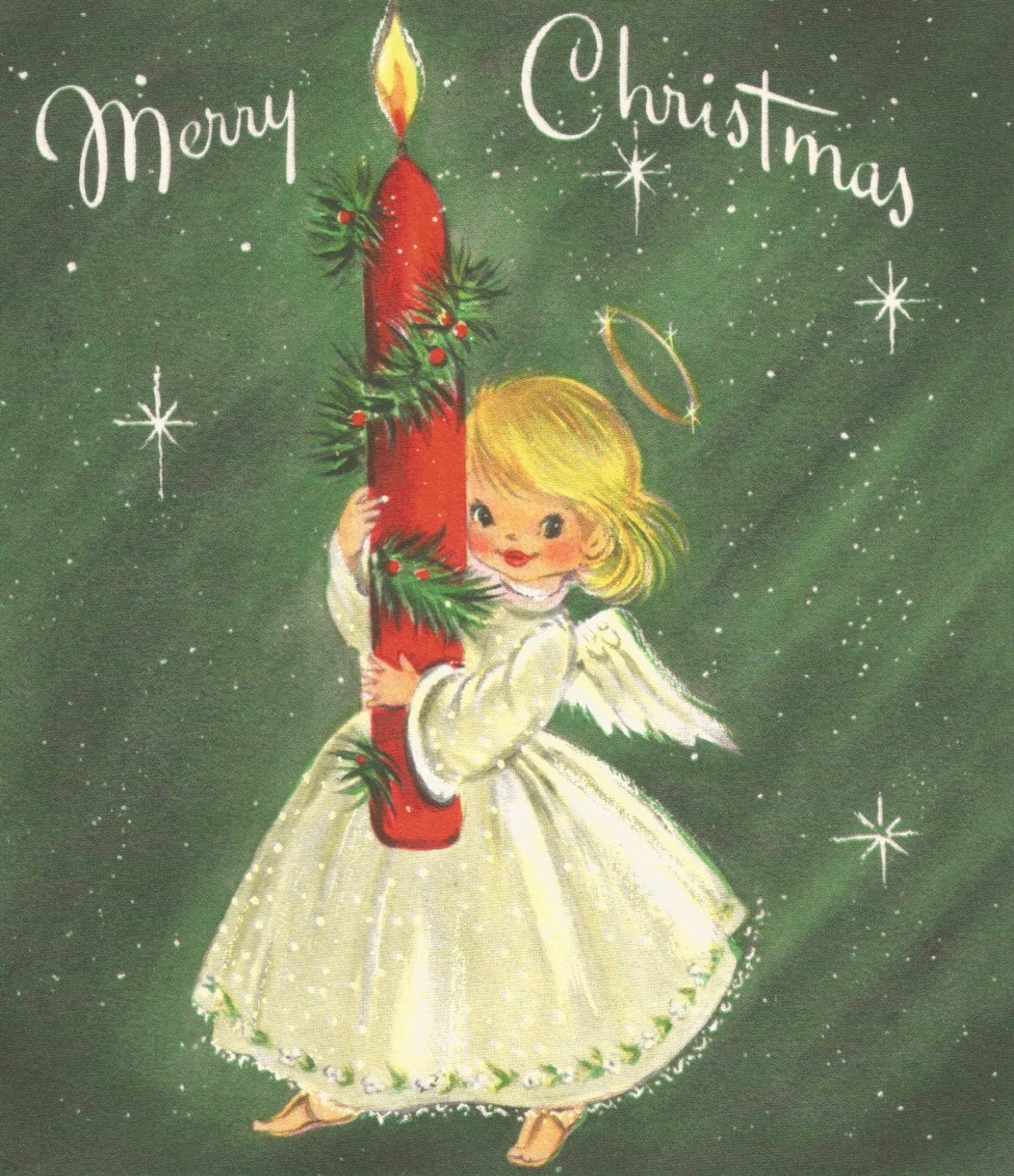 Vintage Retro Merry Christmas Greeting Card Angel Candle Etsy