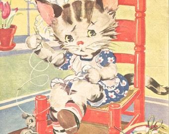 Vintage Ruth Newton children's book illustration sewing cat in chair digital download clip art 300 dpi